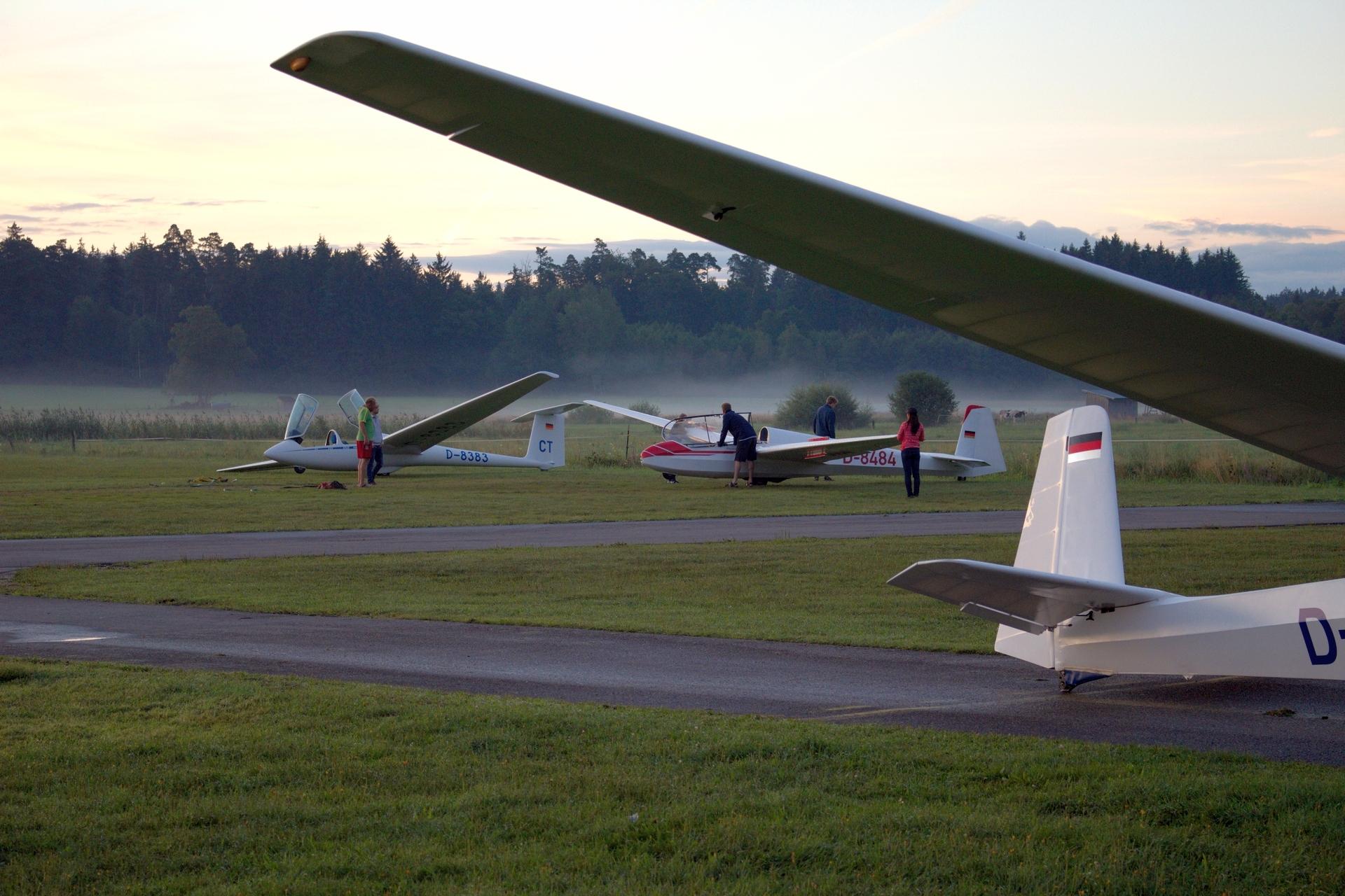 Startaufstellung zum Sunrise -Fliegen